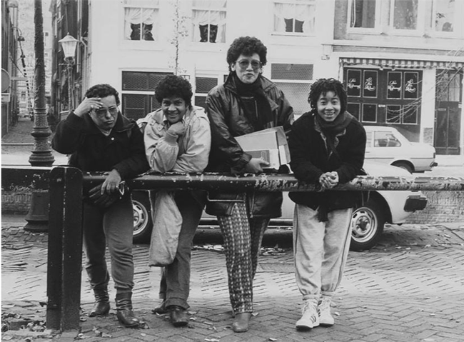 Figure 2 Founding members of Sister Outsider. From left to right: José Maas, Tania Leon, Gloria Wekker, Tieneke Sumter (1984). Picture by Robertine Romeny. Source: Collection IIAV-Atria – Institute on Gender Equality and Women's History, Amsterdam.